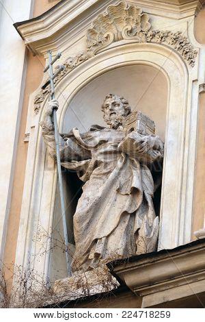 ROME, ITALY - SEPTEMBER 05: Statue of Saint John of Matha on facade of Santissima Trinita degli Spagnoli Church in Rome, Italy on September 05, 2016.