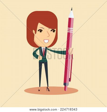 Portrait of a young smiling woman holding a pen. Stock flat vector illustration.