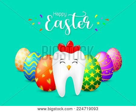 Hen tooth character with eggs of Easter day. Dental Easter, illustration