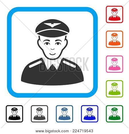 Happy Aviator vector pictogram. Person face has happy emotion. Black, grey, green, blue, red, pink color versions of aviator symbol inside a rounded squared frame.