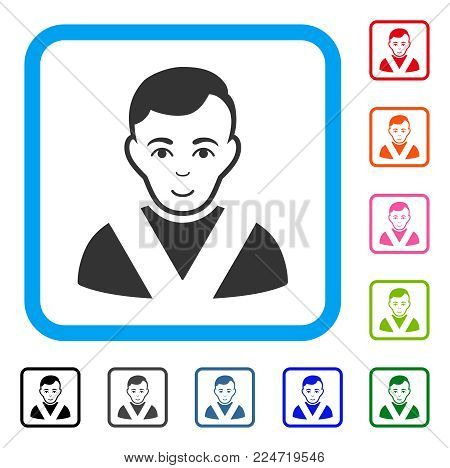 Happiness Awarded Man vector icon. Person face has glad feeling. Black, grey, green, blue, red, pink color versions of awarded man symbol in a rounded squared frame.