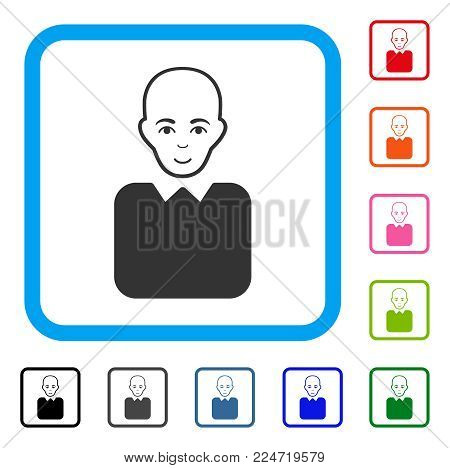 Smiling Bald Bureaucrat vector pictogram. Person face has enjoy emotions. Black, gray, green, blue, red, pink color versions of bald bureaucrat symbol inside a rounded square.