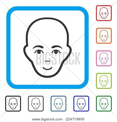 Enjoy Bald Head vector pictogram. Person face has joyful mood. Black, gray, green, blue, red, pink color variants of bald head symbol inside a rounded frame.