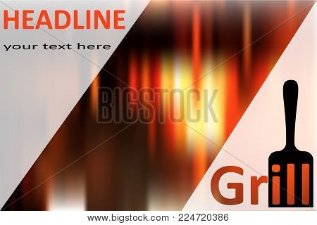 grill blade with word grill and text grill art logo menu