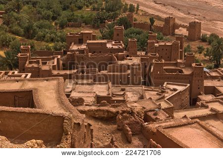 Aerial view of berber village of Ait Ben Haddou, UNESCO world heritage site in Morocco, Africa