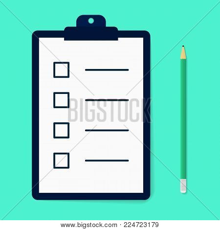 Ckecklist with pencil in carton style. Time managment. Flat syllabus. Clipboard with empty checkboxes. Template for design. Vector illustartion isolated on background.