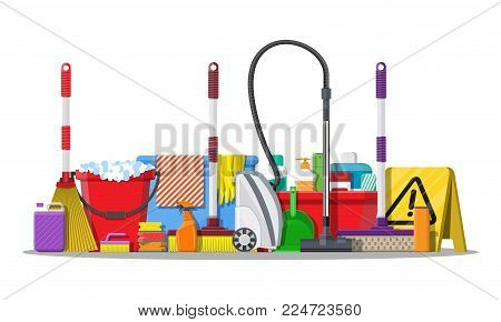 Bottle of detergent, sponge, soap and rubber gloves. Bucket, MOP, broom, hoover, dustpan. Accessories for washing and house cleaning. Vector illustration in flat style