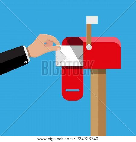 Red opened mailbox with regular mail inside. Post and mail, correspondence. Hand with envelope. Vector illustration in flat design
