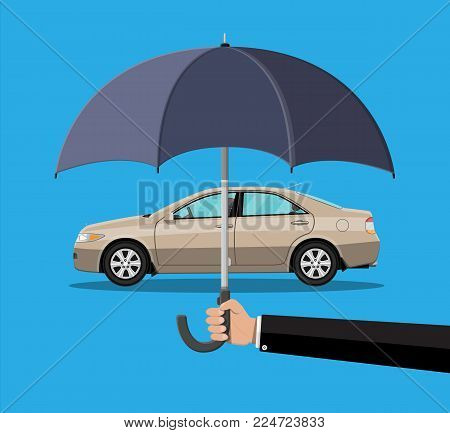 Hand with umbrella that protects car. Safety, road accident, protection concept. Vector illustration in flat style