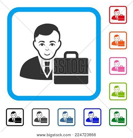 Smiling Accounter vector pictograph. Person face has glad mood. Black, grey, green, blue, red, pink color additional versions of accounter symbol in a rounded square.
