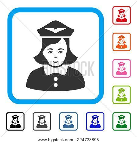 Glad Airline Stewardess vector pictogram. Human face has enjoy emotion. Black, grey, green, blue, red, pink color additional versions of airline stewardess symbol in a rounded rectangular frame.