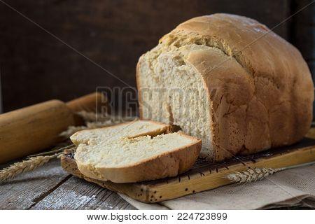 Bread Slice. Bread White. Bread On Wood. Bread On Table. Bread For Background. Bread For Breakfast.