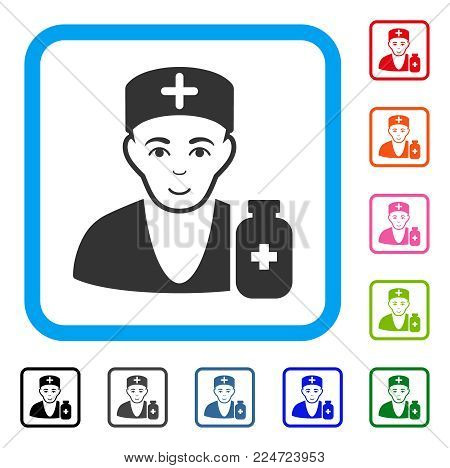 Smiling Apothecary Doctor vector icon. Person face has joy feeling. Black, grey, green, blue, red, orange color versions of apothecary doctor symbol in a rounded rectangle.