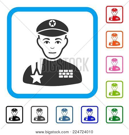 Glad Army General vector pictograph. Human face has cheerful sentiment. Black, grey, green, blue, red, pink color variants of army general symbol inside a rounded square.