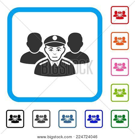 Glad Army Team vector pictograph. Human face has cheerful emotions. Black, gray, green, blue, red, pink color additional versions of army team symbol in a rounded rectangular frame.