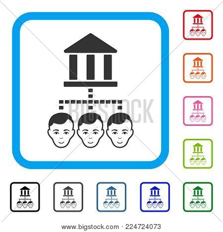 Positive Bank Clients vector pictogram. Human face has positive mood. Black, gray, green, blue, red, pink color additional versions of bank clients symbol in a rounded rectangular frame.