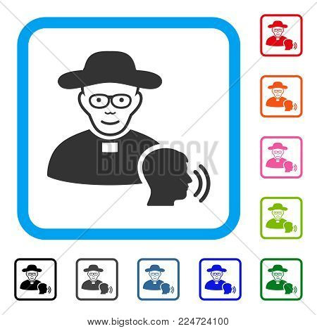 Joyful Believer Confession vector icon. Person face has smiling mood. Black, grey, green, blue, red, pink color variants of believer confession symbol in a rounded rectangular frame.