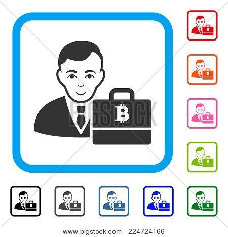 Glad Bitcoin Accounter vector pictograph. Human face has happy mood. Black, gray, green, blue, red, pink color variants of bitcoin accounter symbol in a rounded frame.