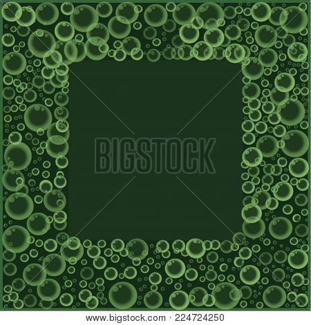 Frame with floating soap or soda bubbles pattern on green background. Water fizzing bubbles texture. Abstract vector banner, poster, illustration, template, border with flying spheres print.