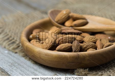Shelled Almonds As Background. Close Up View Of Shelled Almonds Texture And Background For Designers