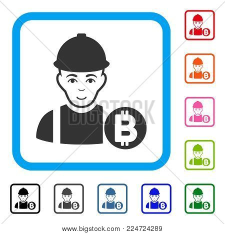 Smiling Bitcoin Miner vector pictograph. Human face has glad emotions. Black, gray, green, blue, red, orange color variants of bitcoin miner symbol inside a rounded squared frame.