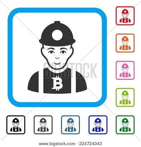 Joy Bitcoin Miner vector pictogram. Person face has joy feeling. Black, grey, green, blue, red, orange color variants of bitcoin miner symbol in a rounded square.