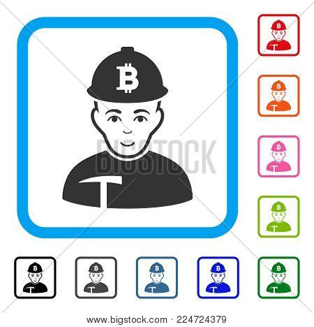 Cheerful Bitcoin Miner vector pictogram. Human face has glad feeling. Black, grey, green, blue, red, orange color versions of bitcoin miner symbol inside a rounded rectangle.