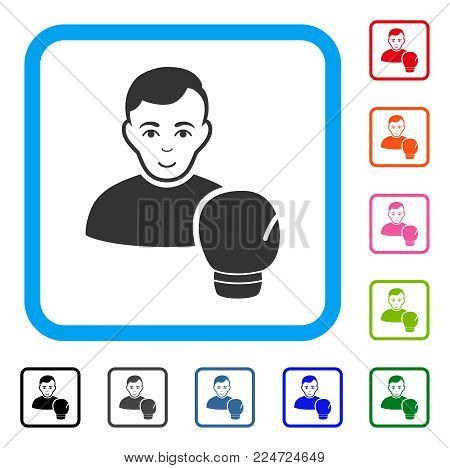 Glad Boxing Sportsman vector icon. Human face has enjoy emotion. Black, grey, green, blue, red, orange color additional versions of boxing sportsman symbol in a rounded rectangle.