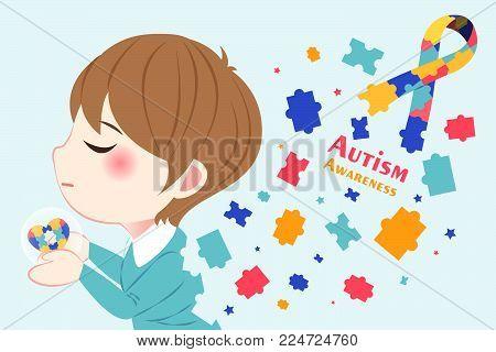 Cute Cartoon Boy With Autism Awareness Concept