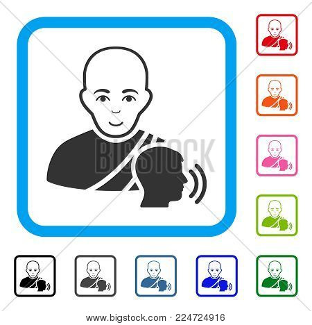 Glad Buddhist Confession vector icon. Human face has gladness mood. Black, gray, green, blue, red, orange color additional versions of buddhist confession symbol inside a rounded rectangle.