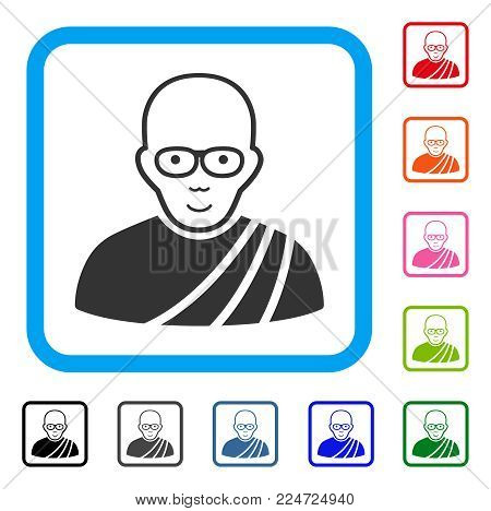 Glad Buddhist Monk vector pictogram. Person face has enjoy mood. Black, grey, green, blue, red, orange color additional versions of buddhist monk symbol inside a rounded rectangle.