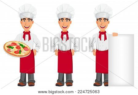 Young professional chef in uniform and cook hat. Smiling cartoon character, set with pizza, with hands on hips and standing near placard. Restaurant staff character design. Vector illustration