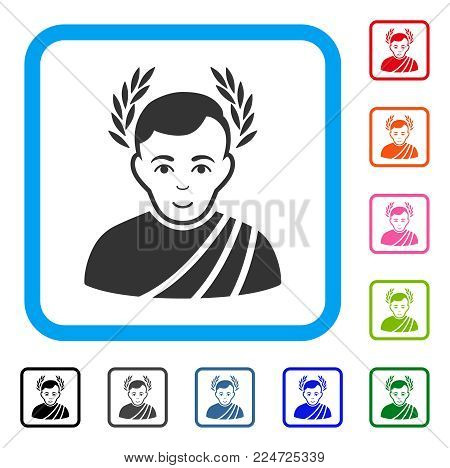 Enjoy Caesar Wreath vector icon. Person face has smiling emotion. Black, grey, green, blue, red, pink color variants of caesar wreath symbol in a rounded rectangular frame.