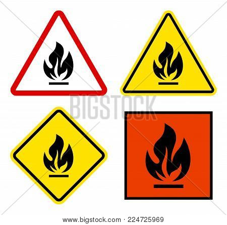 Set Of Warning Signs Flammable Triangular, Square With Yellow And Red.