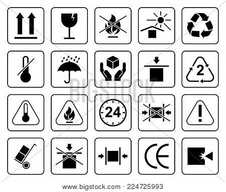 Set Of Packaging Symbols Including Fragile, To Protect From The Sun, Processing, Protected From Mois