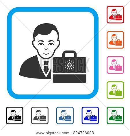 Cheerful Cardano Accounter vector pictogram. Human face has positive mood. Black, grey, green, blue, red, pink color variants of cardano accounter symbol in a rounded squared frame.