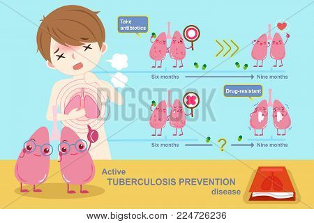 prevention lung tuberculosis disease on the blue background