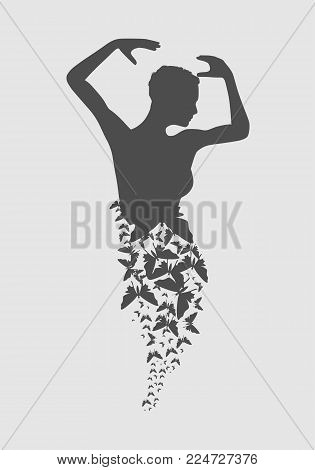 Silhouette of a dancing girl. Sexy women silhouette. Flying butterflies