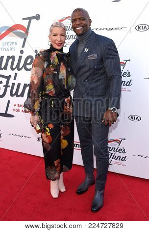 LOS ANGELES - JAN 28:  Terry Crews and Rebecca King-Crews arrives for Steven Tyler 1st Annual Janies Fund Gala 2018 on January 28, 2018 in Hollywood, CA