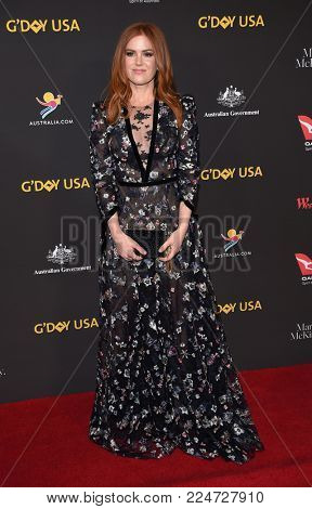 LOS ANGELES - JAN 27:  Isla Fisher arrives for the G'Day USA Gala 2018 on January 27, 2018 in Los Angeles, CA