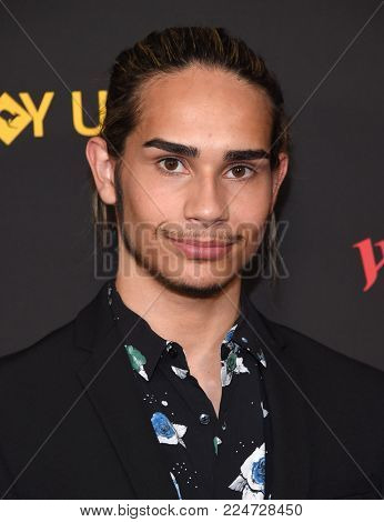 LOS ANGELES - JAN 27:  Isaiah Firebrace arrives for the G'Day USA Gala 2018 on January 27, 2018 in Los Angeles, CA
