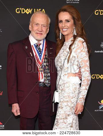 LOS ANGELES - JAN 27:  Buzz Aldrin and Michelle Sucillon arrives for the G'Day USA Gala 2018 on January 27, 2018 in Los Angeles, CA