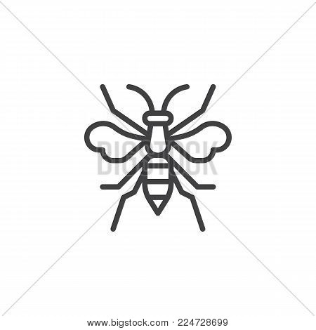 Wasp insect line icon, outline vector sign, linear style pictogram isolated on white. bumblebee symbol, logo illustration. Editable stroke