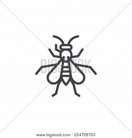 Wasp insect line icon, outline vector sign, linear style pictogram isolated on white. Hornet symbol, logo illustration. Editable stroke