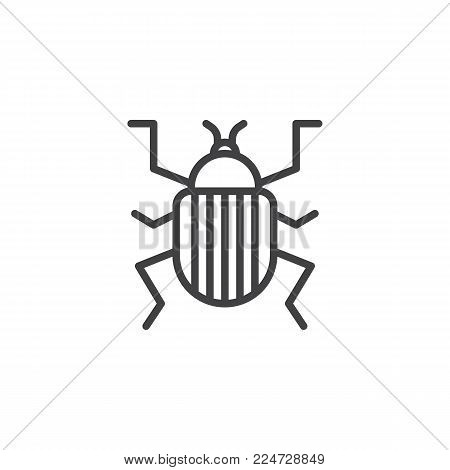Colorado beetle line icon, outline vector sign, linear style pictogram isolated on white. Pest symbol, logo illustration. Editable stroke