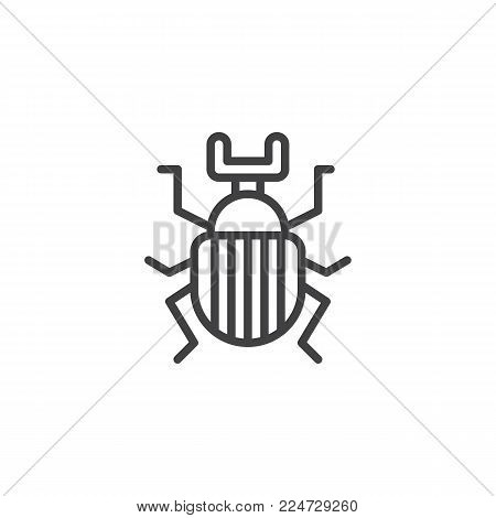 Beetle bug insect line icon, outline vector sign, linear style pictogram isolated on white. Scarab bug symbol, logo illustration. Editable stroke
