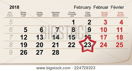 February 23 day of defender fatherland. Red star calendar reminder. Vector illustration
