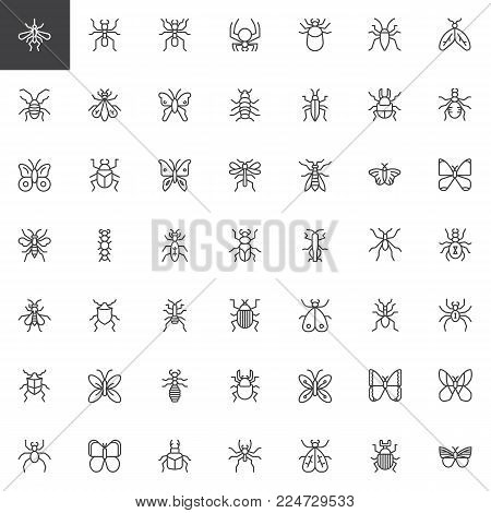 Bug and insects line icons set, outline vector symbol collection, linear style pictogram pack. Signs, logo illustration. Set includes icons as beetle, butterfly, spider, moth, flea, fly, caterpillar