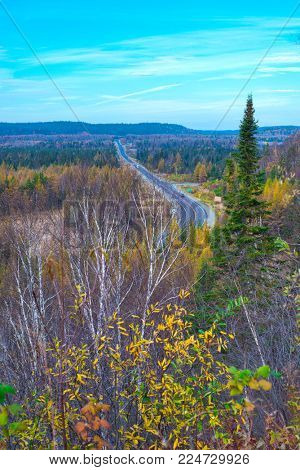 View of Transcanada Highway, a road system that travels through all ten provinces of Canada, seen from Wawa in Northern Ontario.