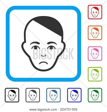 Patient Head raster flat icon. Human face has joy sentiment.